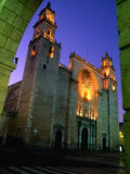 Facade of the Cathedral on Plaza Mayor  Merida  Mexico