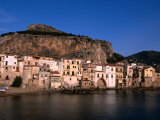 Rocky Crag Known as La Rocca (The Rocky) Rises Behind Town  Cefalu  Sicily  Italy