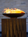 The Olympic Flame Burns in the Reconstructed Roman Stadium  Athens  Attica  Greece