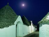 Moon Over Distinctive Houses of Trulli Region  Alberobello  Puglia  Italy