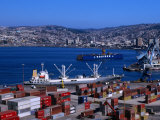 Cargo Ships in City Port  Valparaiso  Chile
