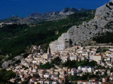 Hillside Town with Mountain in Background Chieti  Abruzzo  Italy