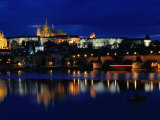 Vltava River at Night from Charles Bridge of Prague Castle  Prague  Czech Republic