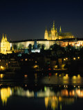 Vltava River from Charles Bridge of Prague Castle  at Night  Prague  Czech Republic