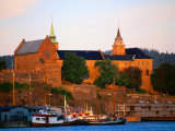 Boats Moored Below Akershus Fort and Castle  Oslo  Norway