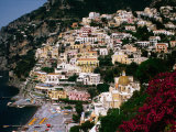 Domed Church of Santa Maria Dell'Asunta in Foreground with Village Behind  Positano  Italy