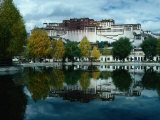View of Impressive Potala Palace and Lake in Chingdrol Chiling (Liberation Park)  Lhasa  Tibet