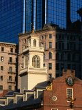 The Old State House on Court Street  Dwarfed by a Glass and Steel Skyscraper  Boston  Massachusetts