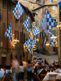 Pre-Palio Banquet for Members of the Onda (Wave) Contrada  Siena  Tuscany  Italy