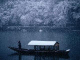 A Traditional Leisure Boat During a Snowfall at Arashiyama West of Kyoto  Kyoto  Kinki  Japan