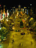 Wenceslas Square at Night in New Town  Blur  Prague  Czech Republic