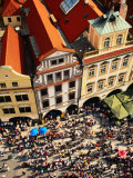 Looking Down on Crowds Outside Town Hall  Prague  Czech Republic