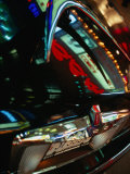 Lights of Times Square Reflected on Trunk of Limousine  New York City  New York  USA