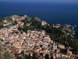 Aerial View of Coastal Town Including Teatro Greco (Greek Ampitheatre)  Taormina  Sicily  Italy