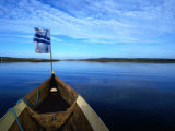 Bow of Boat with Flag Rovaniemi  Lapland  Finland