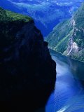 Fjord Ferry and Seven Sisters Waterfall  Geiranger  Norway