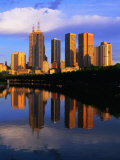 City Skyline Reflected in Yarra River  Melbourne  Australia