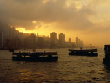 Ferries Silhouetted on the Harbour at Sunset  Hong Kong