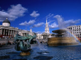 Fountain in Trafalgar Square  London  Uk