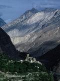 Mountains of Hunza Dwarfing Altit Fort  Altit  Pakistan