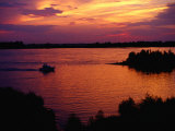 Boat on Mississippi River at Sunset  Memphis  USA