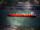 Cargo Ship at Gaillard Cut on the Panama Canal  Near Gamboa  Gamboa  Panama