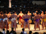 Traditional Ceremony Before Sumo Wrestling  Osaka  Japan