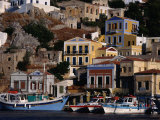 Buildings Overlooking the Harbour  Symi Island  Greece