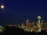 Skyline at Night with Moon and Space Needle Tower Seattle  Washington  USA