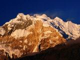 Evening Light on Annapurna I from Poon Hill on Annapurna Trek  Gandaki  Nepal