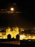 La Catedral on Plaza De Armas with Rising Moon  Cuzco  Peru
