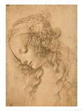 Study for the Face of the Virgin Mary of the Annunciation Now in the Louvre Giclée par Leonardo Da Vinci