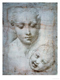 Heads of the Virgin and Child  1508-1510  Silverpoint on Orange-Pink Paper