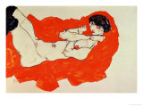 Reclining Female Nude on Red Drape  1914