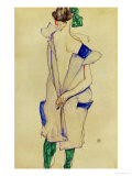 Standing Girl in Blue Dress and Green Stockings  1913