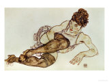 Reclining Woman with Black Stockings  1917