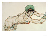 Reclining Female Nude with Green Cap  Leaning to the Right  1914