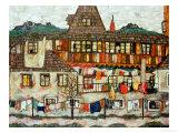 Maison avec le linge séchant, 1917 Giclée par Egon Schiele