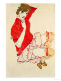 Wally in Red Blouse with Raised Knees  1913