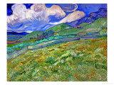 Champ de blésur fond demontagnes, 1889 Giclée par Vincent Van Gogh