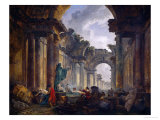 Imaginary View of the Ruins of the Grande Galerie of the Louvre Palace  1796
