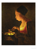 Girl Blowing on a Brazier  circa 1645