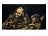Two Old Men Eating  One of the Black Paintings from the Quinta Del Sordo  Goya's House  1819-1823