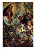 The Archangel Michael Fights Satan, (Revelation 12, 1-9) Giclée par Jacopo Robusti Tintoretto