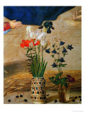 Vase with White  Red and Blue Lilies and Iris  Another with Seven Columbines