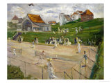 Tennis Court with Players in Noordwijk  Netherlands  1913