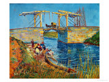 The Drawbridge at Arles with a Group of Washerwomen, c.1888 Giclée par Vincent Van Gogh