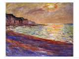 Beach at Pourville, Sunset, 1882 Giclée par Claude Monet