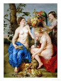 Ceres and Two Nymphs  Animals and Fruit by Snyders  Painted Between 1620-28