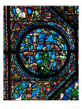 Gothic Stained Glass  Placidus Meets a Stag with Cross Between the Antlers and Becomes a Christian